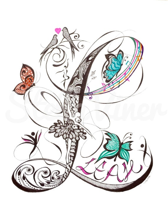 Custom Hand Drawn Original Baby Girl Monogram Letter E - 11x14  wall decor, wall art by Stella Viner