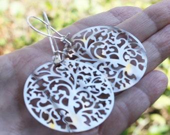 Laser Cut Earrings - medallion earrings, stainless steel earrings, lightweight earrings, woodland earrings, tree jewelry, woodland jewelry