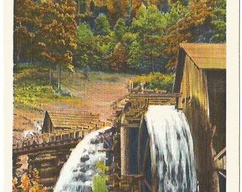 Old Water Wheel During Indian Summer Beautiful Fall image of Old Fashioned Buildings Vintage Linen Postcard approx 1930's-1940's