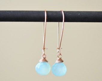 Rose Gold Kidney Earwire Earrings, Sea Blue Chalcedony, Crystal Quartz Earrings, Brown Quartz Earrings, Long Earrings,  Drop Dangle Earrings