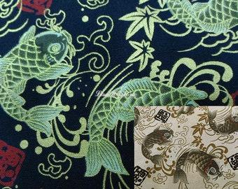 Koi fish and maple, gold metallic, 1/2 yard, pure cotton fabric