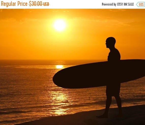 SALE 20% OFF Surfer at Sunset Silhouette Photograph California Dreamin' Beach Photography Color Sun Home Decor Boho Yellow Orange Summer  8X