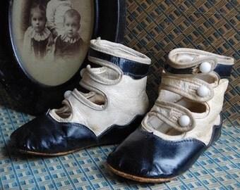 Antique Button Up Children's Boots, Two Toned Strap Shoes,