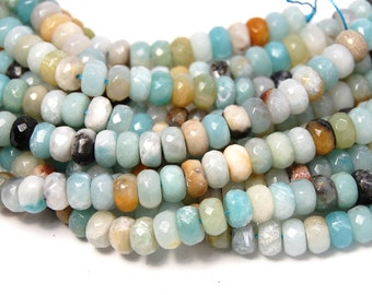 8x5mm Amazonite Faceted Rondelle Beads -14.5 inch strand