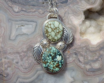 New Lander Turquoise Prince Variscite Multi Stone Sterling Silver Necklace