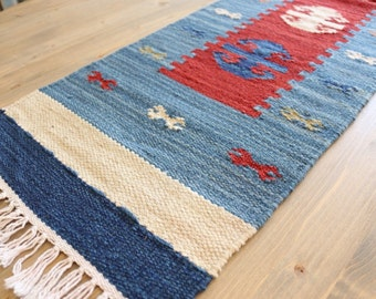 Handwoven table runner, Kilim, 100 percent pure wool on 100 percent pure cotton, item #10
