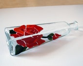 Glass Vase Mosaic Rose on Upcycled Bottle