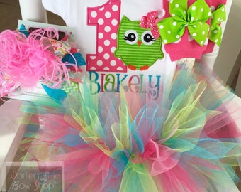 Owl birthday outfit -- ONE's a Hoot -- owl birthday outfit in lime green, hot pink and turquoise with bodysuit, tutu, leg warmers and bow