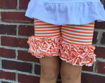 Orange and White Ruffle Shorts,  Orange Striped Ruffle Shorts -- orange and white striped ruffle shorties size 12m to girls 6