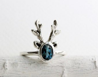 Reindeer Ring,London Blue Topaz Sterling Silver Ring,Deer Fine Jewelry,MADE TO ORDER