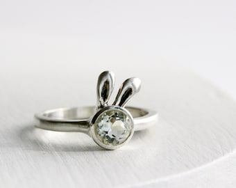 Bunny Ring,Green Amethyst and Sterling Silver Ring,Rabit Fine Jewelry, MADE TO ORDER