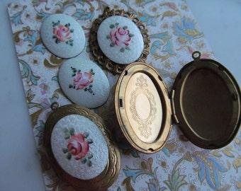 Vintage Guilloche Enamel With  Rose Design