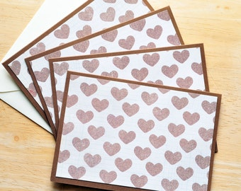 SALE-Brown Heart Note Cards // Set of 4 // Blank Cards // Stationary Set // Wedding Cards // Love Notes // Just Becuase // Thinking of You