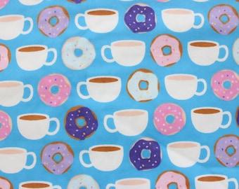 Donut Shop Snuggle Flannel Fabric by Joann Fabrics . Coffee and Doughnut Material . Blue . Destash