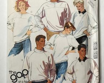 Vintage 80s The Gap Sweatshirts McCalls 2793 Vintage Sewing Pattern Size 40-42