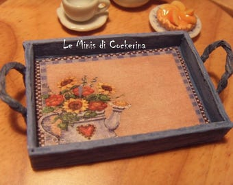 Country Chic Tray Blue - 1/12 dollhouse miniature -