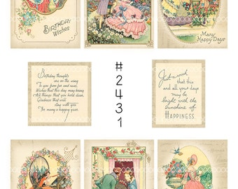 Vintage Collage, instant download, Vintage birthday images, flowers, couples, ladies, gents--Digital Collage Sheet (8.5 by 11 inches) 2431