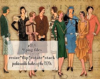 Digital Clipart, instant download, Vintage Women Clipart, ladies 1920s catalog fashions ladies runway models furs dresses PNG files 4026