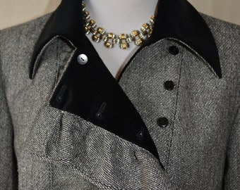 VALENTINO vintage gray tweed wool velvet jacket blazer LG
