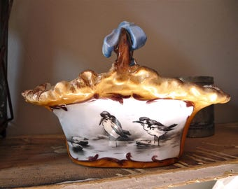 VERY RARE 1890 POUYAT Hand painted porcelain - French Antique Porcelain Basket With Bird - Ribbon - Collectible Porcelain - Pouyat porcelain