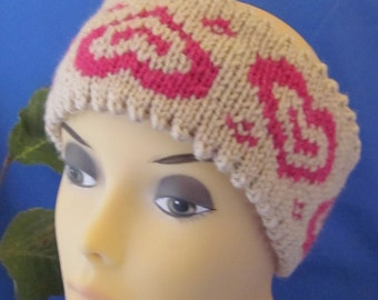 Hand Knitted double side Head Band/Neck Warmer with Hearts Ornament. Great gift for a someone special. Valentines Day Gift