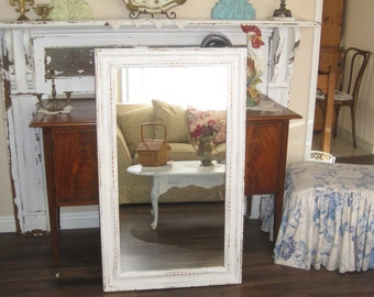 Large Shabby Chic Full Length Carved Wood Framed Mirror - Rustic Farmhouse - Distressed Cream Salvaged Wood Frame