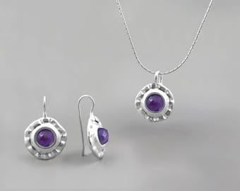 Purple Amethyst Gemstone Jewelry Set, Silver Jewelry Set, Amethyst Birthstone Gift for Women, Purple Amethyst Gemstone Necklace Earrings Set