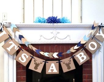 Little Buck baby shower decorations - Large Oh deer baby shower - it's a boy banner- woodland baby shower - your color choices