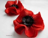 RESERVED 2 Red Poppies, Felted wool flower, brooch, pin, felt poppy, wool and leather