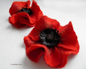 Just red poppy brooch, Felted wool flower, brooch, pin, felt poppy, wool and leather