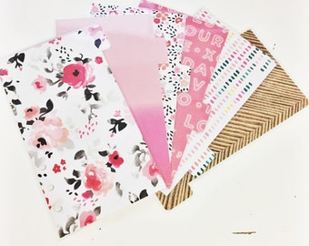 Personal Sized Valentines Floral Pink Ombre Painted Pink Peach Mint Laminated Dividers For Filofax Kate Spade Agenda Kikki-k Planner