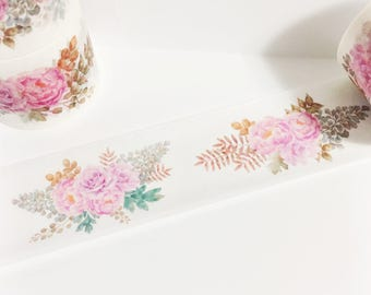 Gorgeous Watercolor Painted Pretty Pink Peonies Brown Green Leaves Floral Washi Tape 5.5 yards 5 meters 30mm