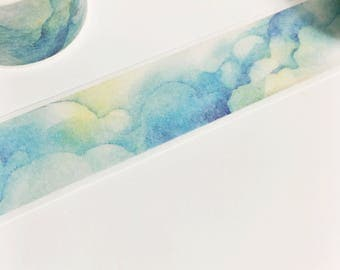 Gorgeous Watercolor Clouds Rainy Clouds Weather Storm Clouds Washi Tape 11 yards 10 meters 25mm