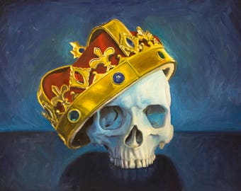 "Crowned Skull Painting, Gothic Skull, Victorian Skull, Blue Skull Painting, Skull Art,- ""The Man Who Would be King"" - (Oil, 18""x24"")"