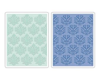 Sizzix - Textured Impressions - Luxurious Collection - Embossing Folders - Classical Beauty and Baroque Wallpaper Set