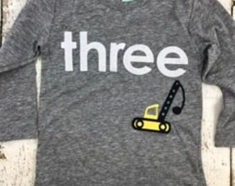 crane shirt, crane truck, construction truck, construction theme party boys birthday shirt construction party, dirt party, truck decor
