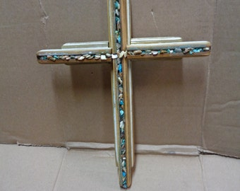 Reclaimed Barn wood layered double Wooden Cross with Turquoise and mother of pearl