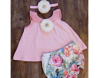 Floral Swing Top Set, Baby Girl Outfit, Baby Swing Top & Bloomer Set, Baby Floral Romper Set, Baby Summer Outfit, Baby Girl Summer Clothes