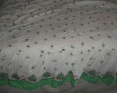 Vintage cotton bedspread, Summer weight handmade green border sheet fabric twin bed size 60s coverlet