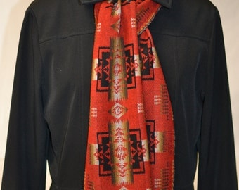 Scarf - Chief Joseph Wool scarf - Red and Black Native American Pendleton Wool 7x60 - Indoor Fashion Outdoor - mens womens Scarf VANS