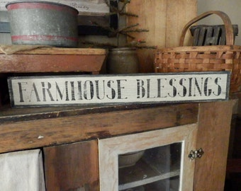 PriMiTiVe - - FaRmHouSe BLeSsinGs - -  HandpAinTeD SiGn - Awesome Early Look