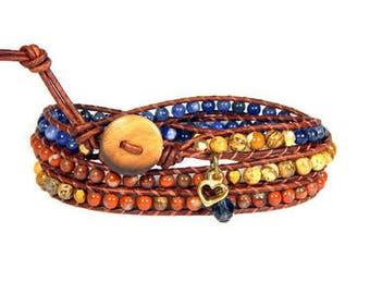 Leather Wrap Bracelet Blue Orange Blue Jeans Crystal Triple Wrap Bohemian Heart Bracelet Boho Jewelry