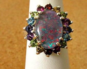 vintage 90s  black opal multi gemstone sterling ring 7.5 blue topaz peridot citrine amethyst rhodolite tanzanite 925 sterling