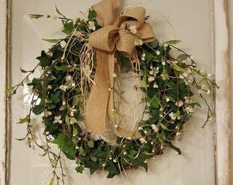 Front Door Wreath | Greenery Wreath | Wreath Great for All Year Round | Everyday Burlap Wreath | Door Wreath | Front Door Wreath farmhouse