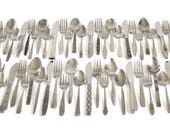 Mismatched Stainless Flatware Set Mid Century Modern Silverware Complete Service for 12, 8, 6, 4, or more