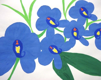 Artwork floral blue flower watercolour