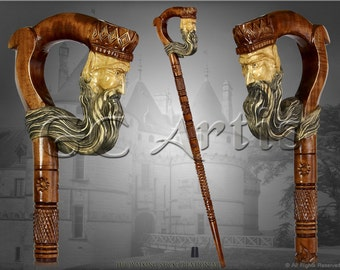 """The """"KING"""" HAND CARVED walking stick cane staff wood crafted handle and shaft authors made in Ukraine"""
