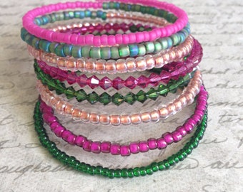 Memory Wire Bracelet in Shades of Hot Pink, Copper, and Dark Green Glass Beads- Wild Pink