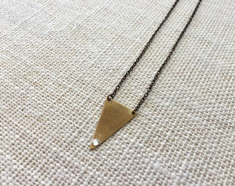 Long Triangle Necklace with Tiny Swarovski Crystal, Oxidized Brass, Geometric, Simple Jewelry
