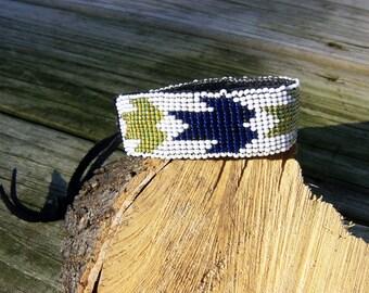 Native American style handmade beaded leather bracelet
